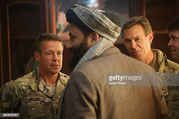 Haji Niyaz Mohammad Amirii provincial governor of Logar Province greets US Army Maj General Scott Miller commander of Special Operations Joint Task...