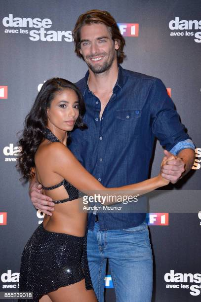 Hajiba Fahmy and Camille Lacourt attend the 'Danse avec les Stars' photocall at TF1 on September 28 2017 in Paris France