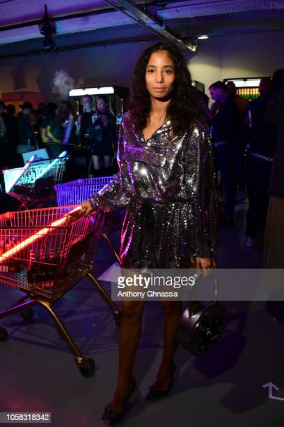 Hajiba Fahmy attends MOSCHINO [tv] HM Launch Party at Le Dernier Etage on November 6 2018 in Paris France