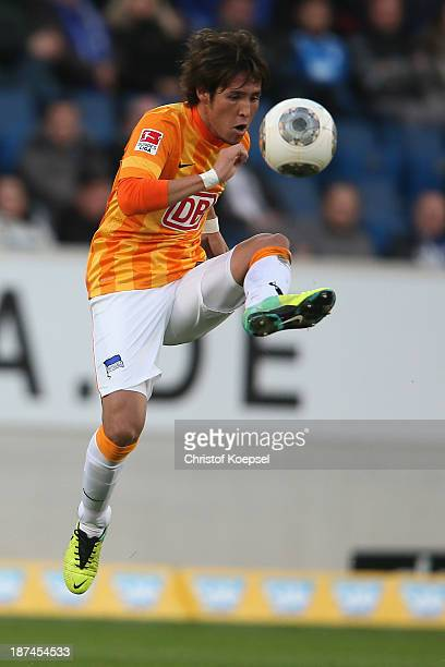 Hajime Hosogai of Berlin shoots the ball during the Bundesliga match between TSG 1899 Hoffenheim and Hertha BSC Berlin at Wirsol Arena on November 9...