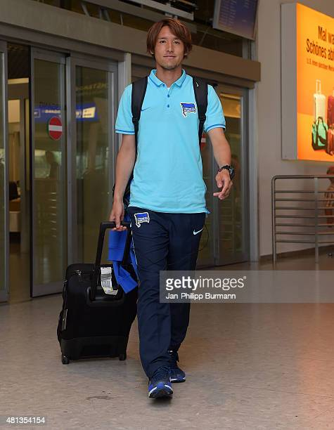 Hajime Hosogai of Hertha BSC during their arrival at Salzburg Airport ahead of the training camp in Schladming on July 19 2015 in Salzburg Austria