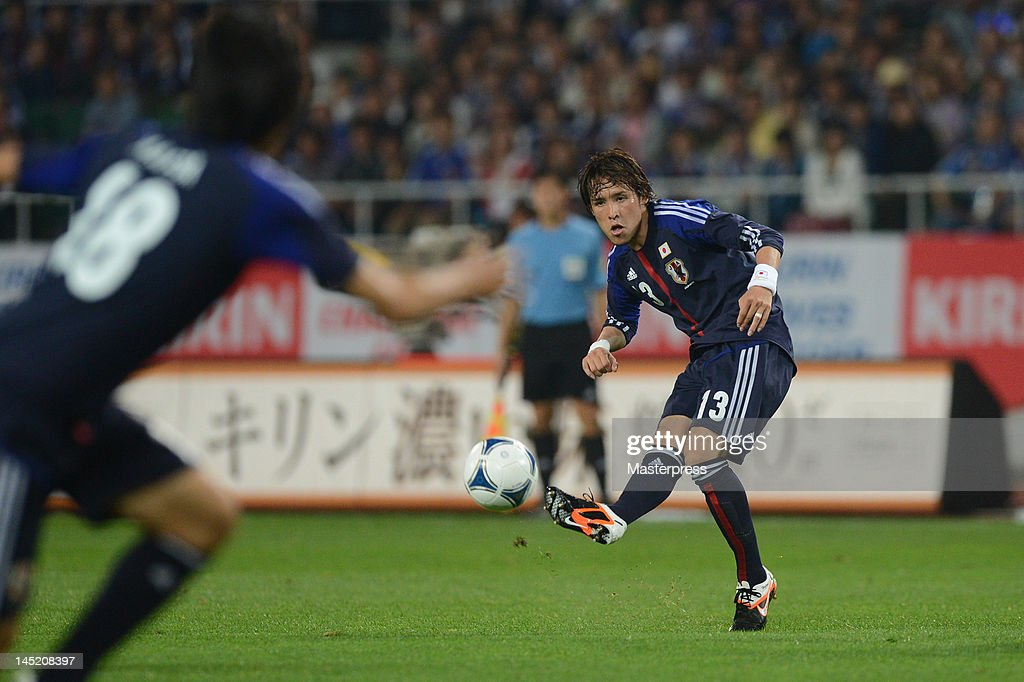 Hajime Hosogai of Japan in action during the international friendly match between Japan and Azerbaijan at Ecopa Stadium on May 23, 2012 in Kakegawa, Japan.