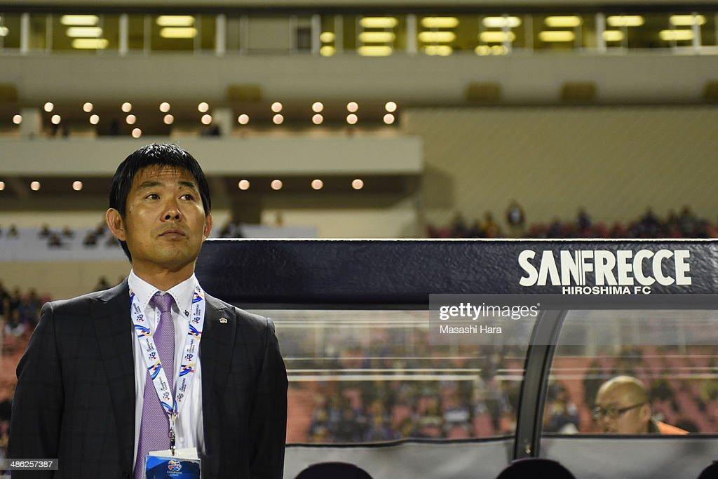 Hajime Moriyasu, coach of Sanfrecce Hiroshima looks on prior to the AFC Champions League Group F match between Sanfrecce Hiroshima and Central Coast Mariners at Edion Stadiam Hiroshima on April 23, 2014 in Hiroshima, Japan.