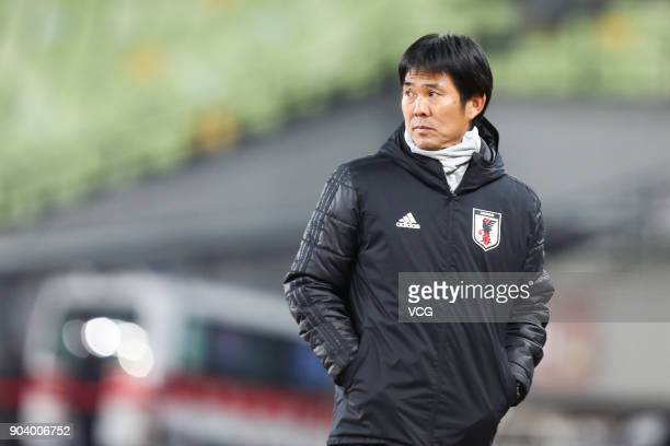 Hajime Moriyasu head coach of Japan looks on during the AFC U23 Championship Group B match between Japan and Palestine at Jiangyin Sports Center on...