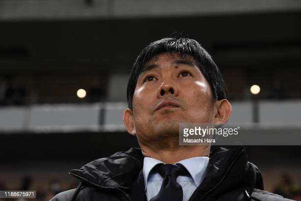 Hajime Moriyasucoach of Japan looks on prior to the international friendly match between Japan and Venezuela at the Panasonic Stadium Suita on...