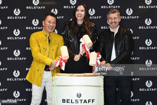 Hajime Takuwa of BELSTAFF Japan president actress Liv Tyler and Gavin Haig CEO of BELSTAFF attend the Belstaff Ginza Flagshipstore Opening event at...