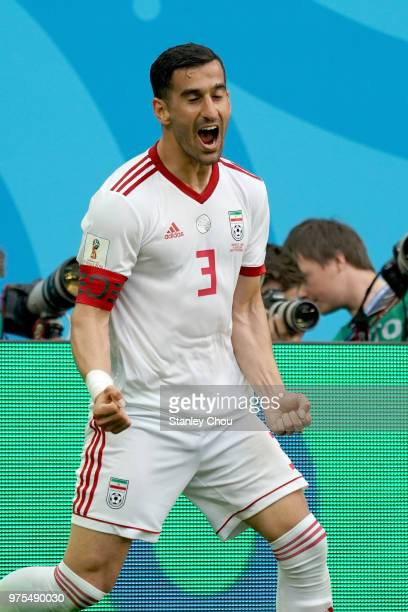 Hajisafi Ehsan of Iran celebrates their first goal against Morocco during the 2018 FIFA World Cup Russia group B match between Morocco and Iran at...