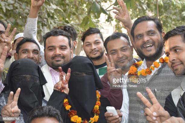 Hajjan Hansar a candidate from AllIndia MajliseIttehadul Muslimeen party won the chairperson seat from Dasna Nagar Panchayat on December 1 2017 in...
