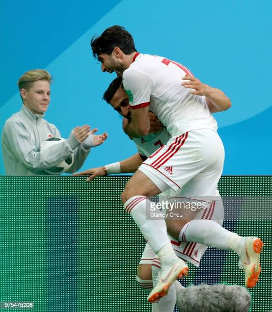 Hajsafi Ehsan and Omid Ebrahimi of Iran celebrates their first goal against Morocco during the 2018 FIFA World Cup Russia group B match between...