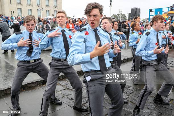 A haka performed by air cadets during Armistice Day commemorations on November 11 2018 in Auckland New Zealand Armistice Day 2018 marks the centenary...