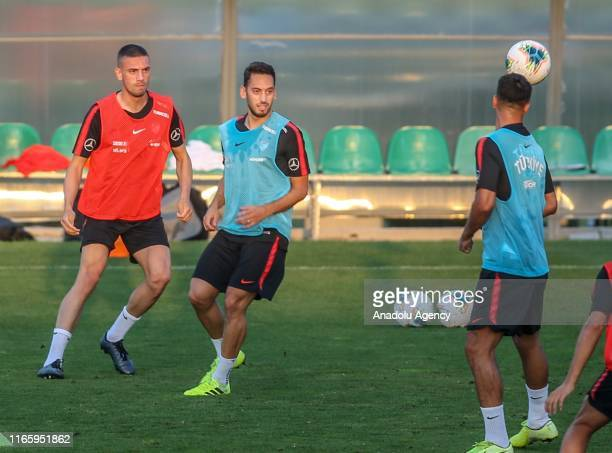 Hakan Calhanoglu and Merih Demiral attend a training session of Turkey National Football Team ahead of UEFA European Qualifying Group H matches...