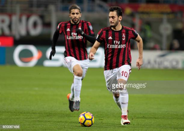 Hakan Calhanoglu during the Italian Serie A football match between AC Milan and Sampdoria at the San Siro stadium in Milan on February 18 2018