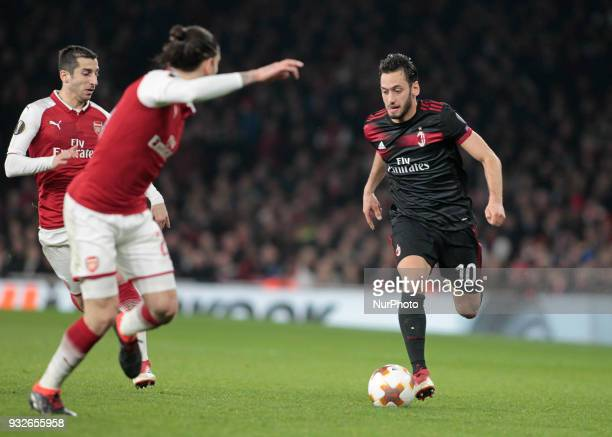 Hakan Calhanoglu during the UEFA Europa League Round of 16 2nd leg match between Arsenal and AC MIian at Emirates Stadium on March 15 2018