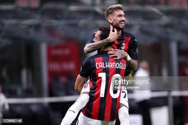 Hakan Calhanoglu of Ac Milan celebrate with hiis teammates Samu Castillejo of Ac Milan in action during the UEFA Europa League third qualifying round...