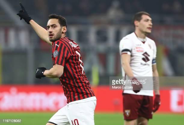 Hakan Calhanoglu of AC Milan celebrates his goal during the Coppa Italia Quarter Final match between AC Milan and Torino at San Siro on January 28,...