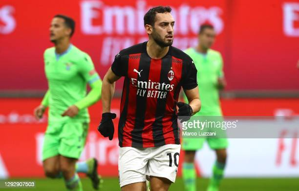 Hakan Calhanoglu of AC Milan celebrates his goal during the Serie A match between AC Milan and SS Lazio at Stadio Giuseppe Meazza on December 23,...