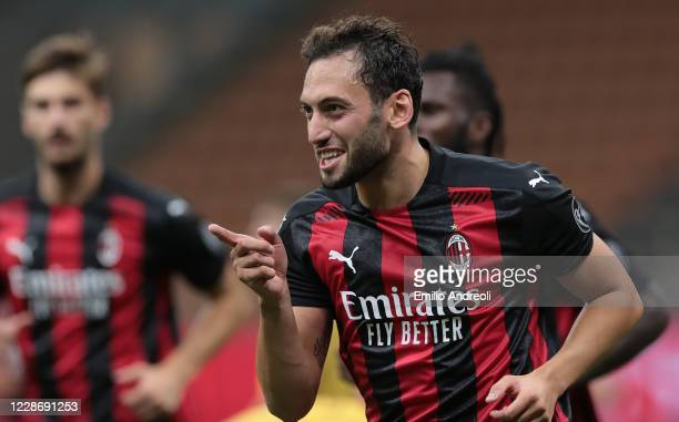 Hakan Calhanoglu of AC Milan celebrates his second goal during the UEFA Europa League third qualifying round match between AC Milan and Bodo Glimt at...