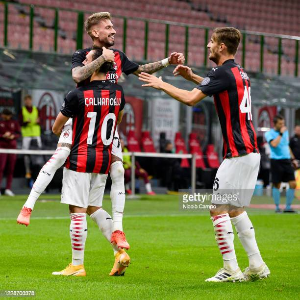 Hakan Calhanoglu of AC Milan celebrates with his temmates after scoring a goal during the UEFA Europa League Third Qualifying Round football match...