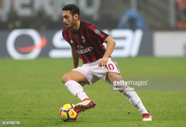 Hakan Calhanoglu of AC Milan drives the ball during the TIM Cup match between AC Milan and SS Lazio at Stadio Giuseppe Meazza on January 31 2018 in...