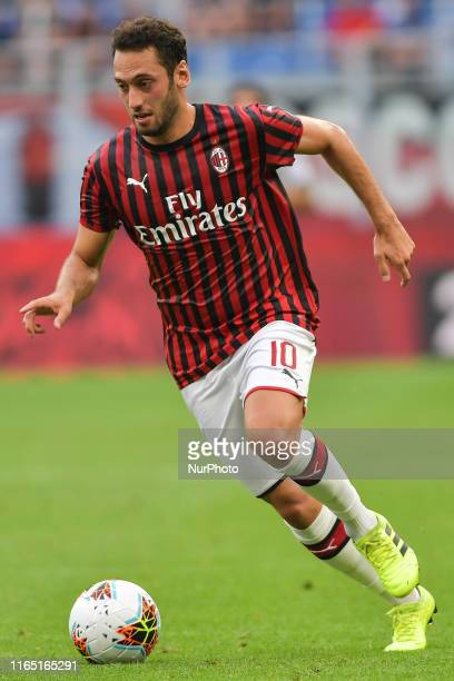 Hakan Calhanoglu of AC Milan during the Serie A match between AC Milan and Brescia Calcio at Stadio Giuseppe Meazza on August 31, 2019 in Milan,...