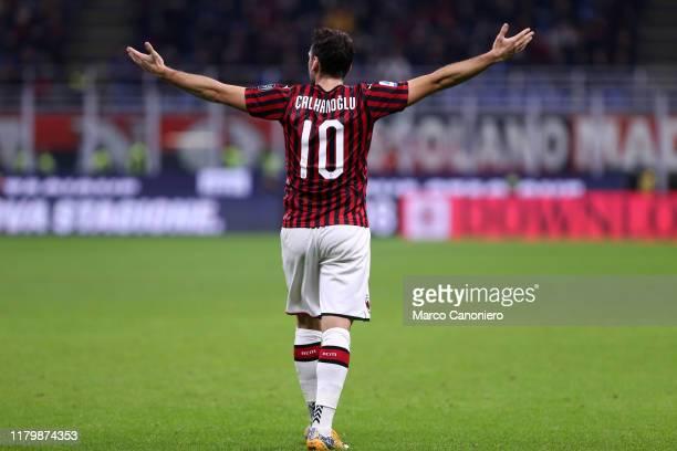 Hakan Calhanoglu of Ac Milan during the Serie A match between Ac Milan and Ss Lazio. SS Lazio wins 2-1 over Ac Milan.