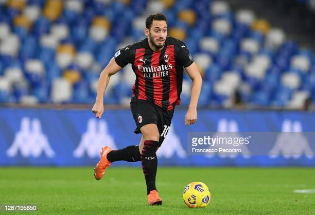Hakan Calhanoglu of AC Milan during the Serie A match between SSC Napoli and AC Milan at Stadio San Paolo on November 22, 2020 in Naples, Italy.