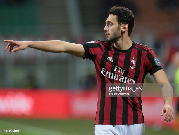 Hakan Calhanoglu of AC Milan gestures during the serie A match between AC Milan and UC Sampdoria at Stadio Giuseppe Meazza on February 18 2018 in...