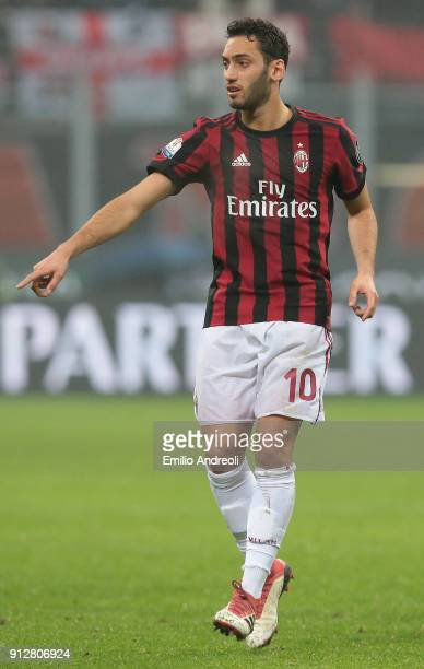 Hakan Calhanoglu of AC Milan gestures during the TIM Cup match between AC Milan and SS Lazio at Stadio Giuseppe Meazza on January 31 2018 in Milan...