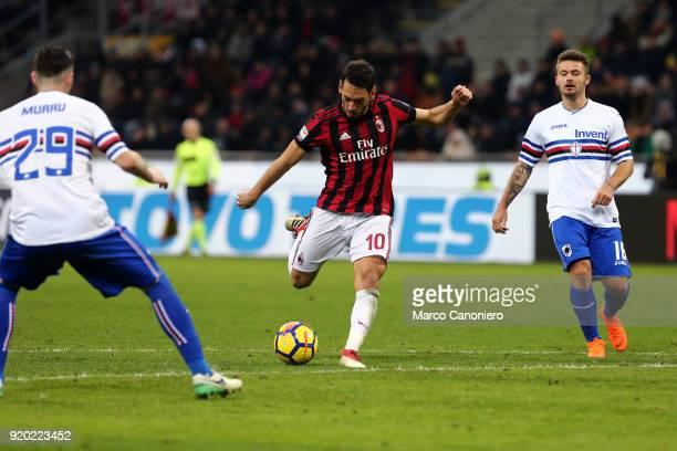 Hakan Calhanoglu of Ac Milan in action during the Serie A football match between AC Milan and Uc Sampdoria Ac Milan wins 10 over Uc Sampdoria