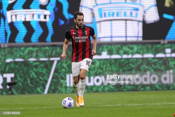 Hakan Calhanoglu of Ac Milan in action during the Serie A match between Fc Internazionale and Ac Milan. Ac Milan wins 2-1 over Fc Internazionale.