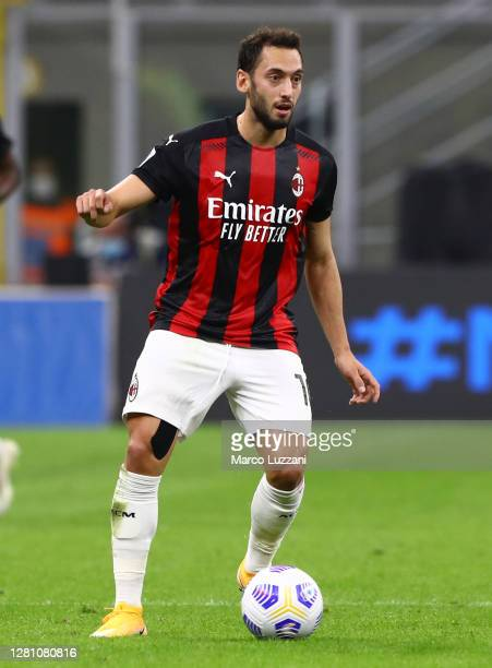 Hakan Calhanoglu of AC Milan in action during the Serie A match between FC Internazionale and AC Milan at Stadio Giuseppe Meazza on October 17, 2020...