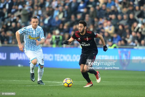 Hakan Calhanoglu of AC MIlan in action during the serie A match between Spal and AC Milan at Stadio Paolo Mazza on February 10 2018 in Ferrara Italy