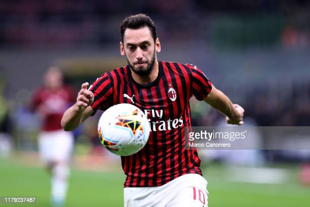 Hakan Calhanoglu of Ac Milan in action during the the Serie A match between Ac Milan and Spal. Ac Milan wins 1-0 over Spal.