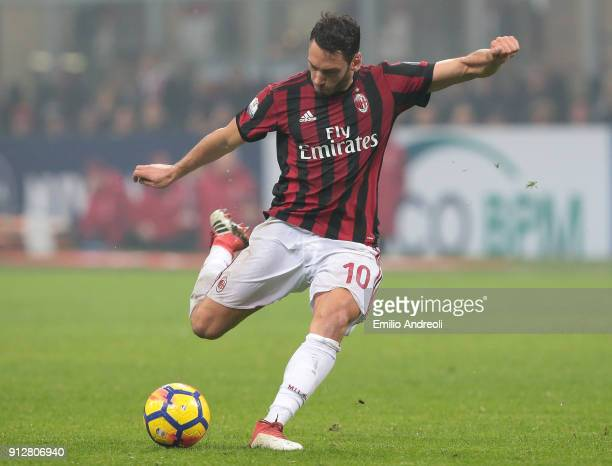 Hakan Calhanoglu of AC Milan in action during the TIM Cup match between AC Milan and SS Lazio at Stadio Giuseppe Meazza on January 31 2018 in Milan...