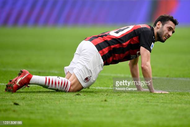 Hakan Calhanoglu of AC Milan looks dejected during the Serie A football match between AC Milan and FC Internazionale. FC Internazionale won 3-0 over...