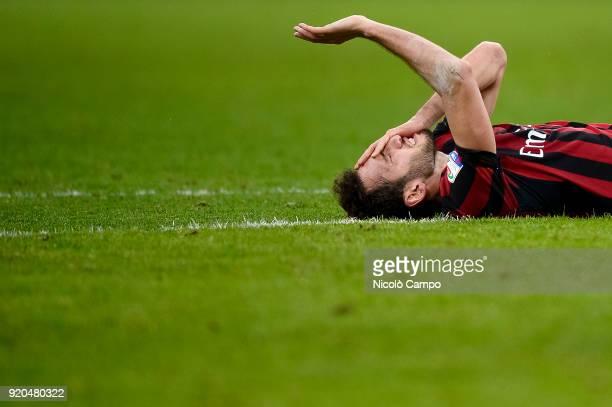 Hakan Calhanoglu of AC Milan looks dejected during the Serie A football match between AC Milan and UC Sampdoria AC Milan won 10 over UC Sampdoria