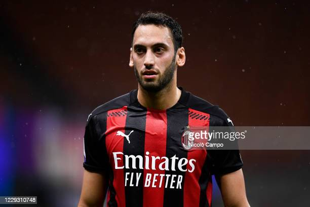 Hakan Calhanoglu of AC Milan looks on during the Serie A football match between AC Milan and AS Roma The match ended 33 tie