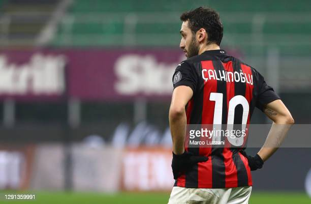 Hakan Calhanoglu of AC Milan looks on during the Serie A match between AC Milan and Parma Calcio at Stadio Giuseppe Meazza on December 13, 2020 in...
