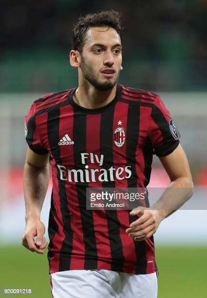 Hakan Calhanoglu of AC Milan looks on during the serie A match between AC Milan and UC Sampdoria at Stadio Giuseppe Meazza on February 18 2018 in...