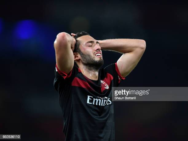 Hakan Calhanoglu of AC Milan reacts after a missed chance during the UEFA Europa League Round of 16 Second Leg match between Arsenal and AC Milan at...