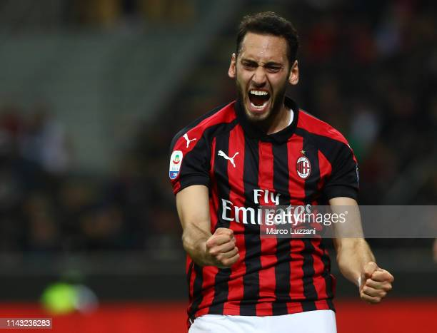 Hakan Calhanoglu of AC Milan reacts during the Serie A match between AC Milan and SS Lazio at Stadio Giuseppe Meazza on April 13, 2019 in Milan,...