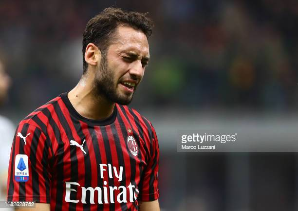 Hakan Calhanoglu of AC Milan reacts during the Serie A match between AC Milan and US Lecce at Stadio Giuseppe Meazza on October 20, 2019 in Milan,...