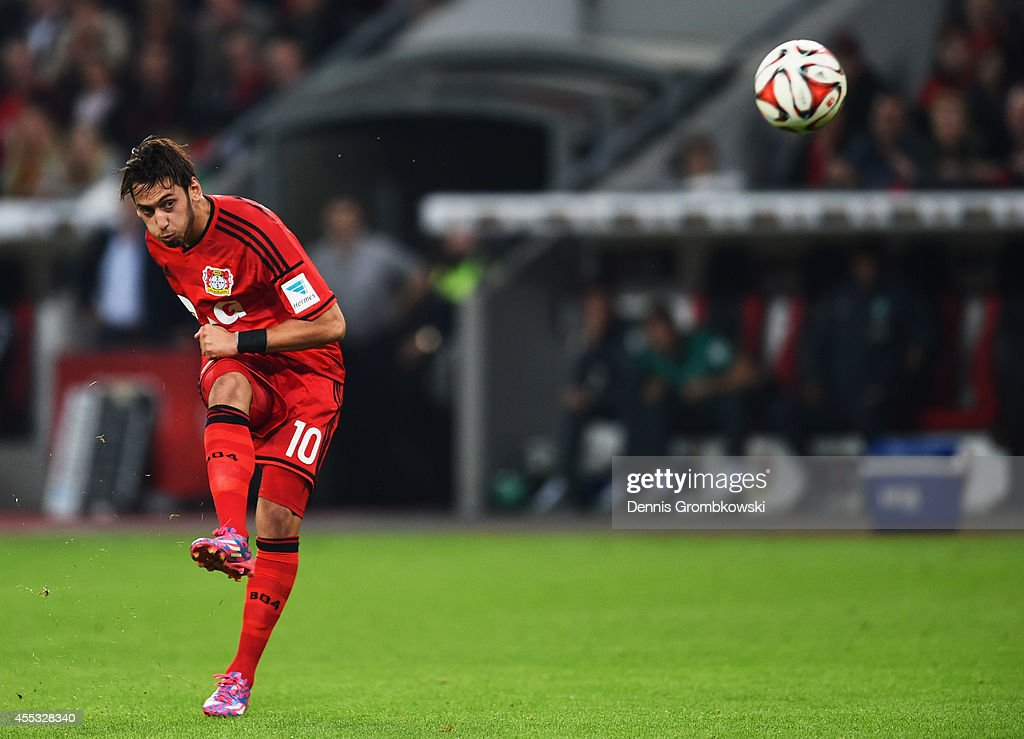 Hakan Calhanoglu of Bayer Leverkusen scores their second goal from ...