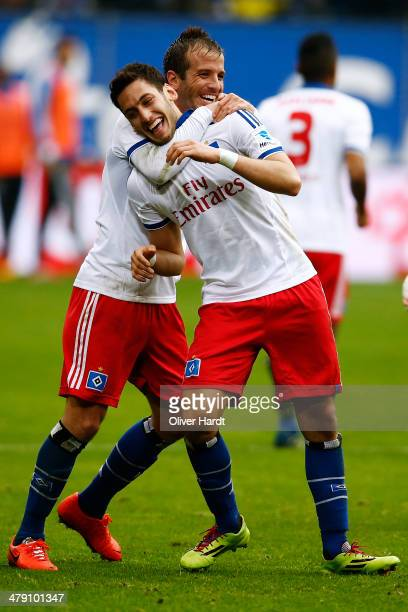 Hakan Calhanoglu of Hamburg celebrates after scoring their first goal during the Bundesliga match between Hamburger SV and 1 FC Nuernberg at Imtech...