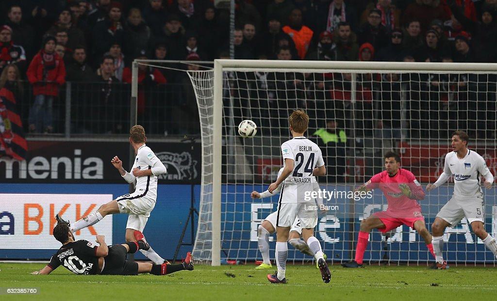 Hakan Calhanoglu of Leverkusen scores the third goal during the Bundesliga match between Bayer 04 Leverkusen and Hertha BSC at BayArena on January 22, 2017 in Leverkusen, Germany.