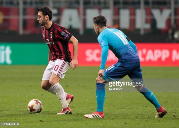 Hakan Calhanoglu of Milan AC during the UEFA Europa League Round of 16 match between AC Milan and Arsenal at the San Siro on March 8 2018 in Milan...