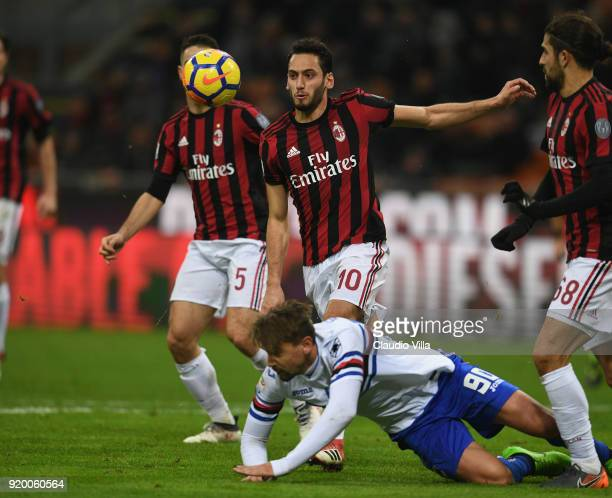 Hakan Calhanoglu of Milan in action during the serie A match between AC Milan and UC Sampdoria at Stadio Giuseppe Meazza on February 18 2018 in Milan...