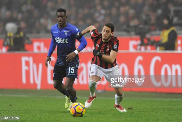 Hakan Calhanoglu of Milan player and Bastos of Lazio player during the match valid for Italian Football Championships Serie A 20172018 between AC...