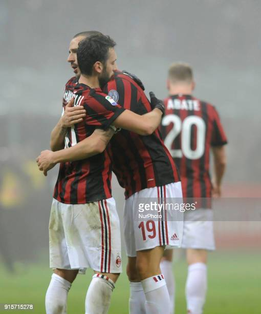 Hakan Calhanoglu of Milan player and Leonardo Bonucci of Milan player celebrates victory at the end of the match valid for Italian Football...