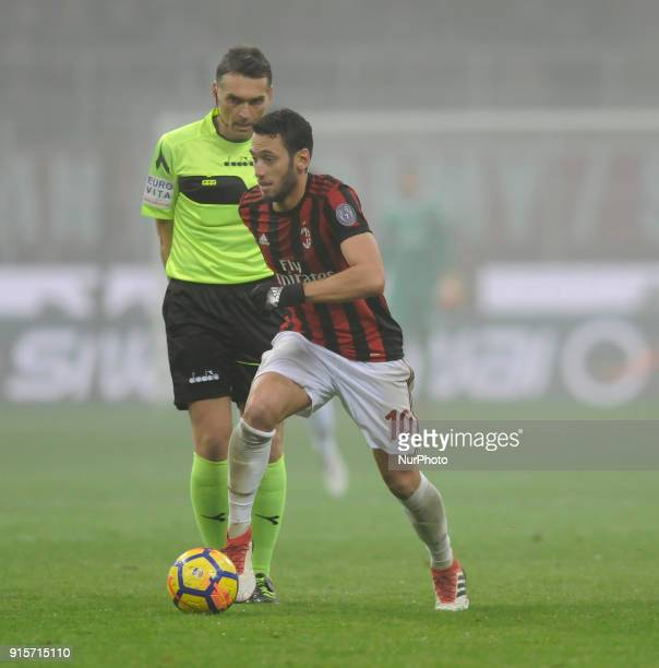 Hakan Calhanoglu of Milan player and Massimiliano Irrati the referee during the match valid for Italian Football Championships Serie A 20172018...